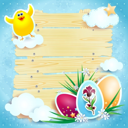 Easter background with eggs and chick, vector Stock Vector - 17936588