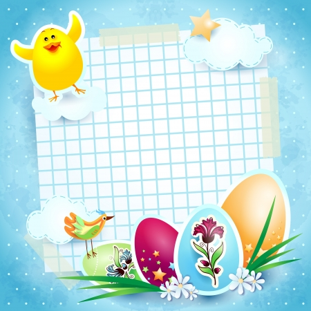 Easter background with eggs and chick, vector Stock Vector - 17936583
