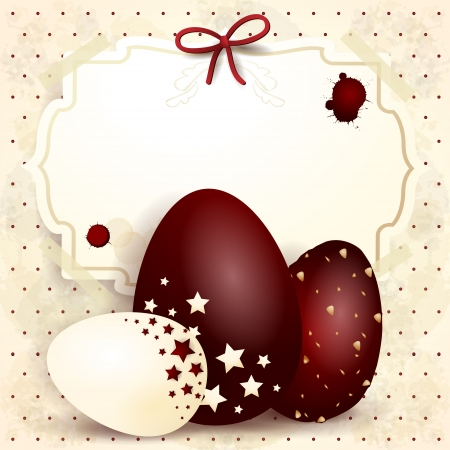 Easter background with chocolate eggs, vector