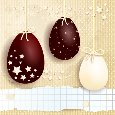 Vector background with chocolate Easter eggs and copyspace Vector
