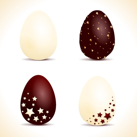 Assortment of chocolate Easter eggs, vector Vector