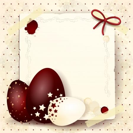 Pascua fondo con los huevos de chocolate y copia espacio