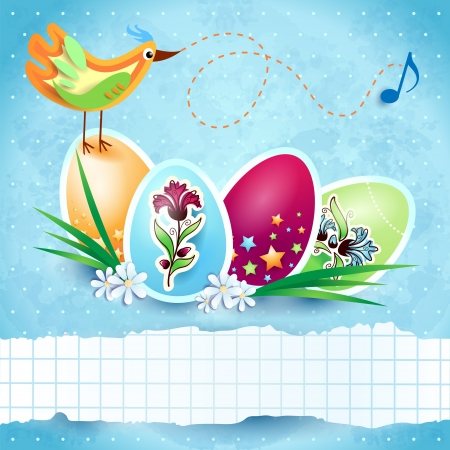 Easter background with colorful eggs and copy space Vector