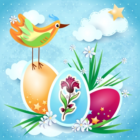 Easter background with bird and colorful eggs Stock Vector - 18129054