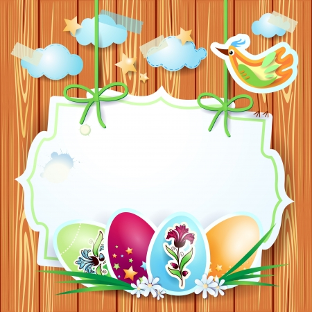 Easter background with custom label Stock Vector - 18129044