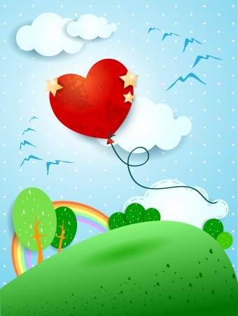 dream land: Heart shaped balloon Illustration