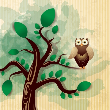 Owl and tree, vector eps10 Stock Vector - 18970324