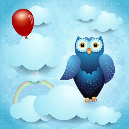 Owl and balloon on sky background, vector eps10 Vector