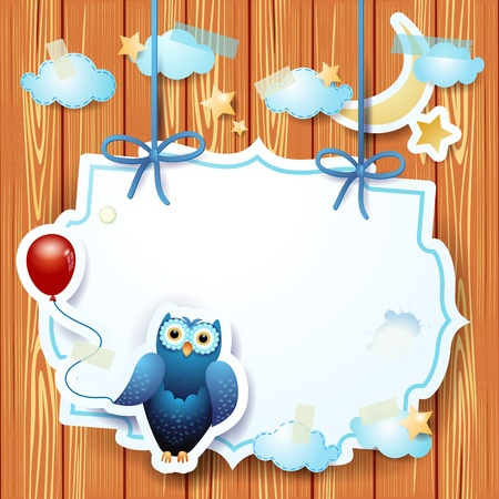 Owl and custom label, vector eps10 Vector