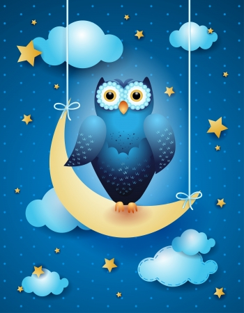 Owl and moon, vector eps10 Vector