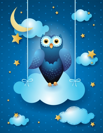 Owl and cloud by night, vector eps10