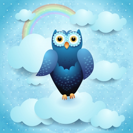 Owl on sky background, vector eps10 Vector