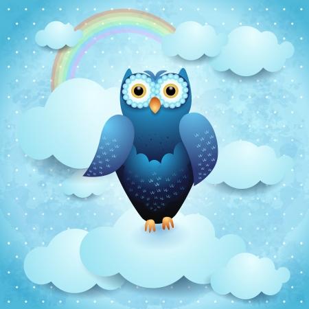 Owl on sky background, vector eps10 Stock Vector - 18970326