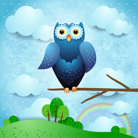 Owl and countryside, vector eps10 Vettoriali