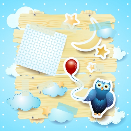 Owl and fantasy background with copyspace Vector