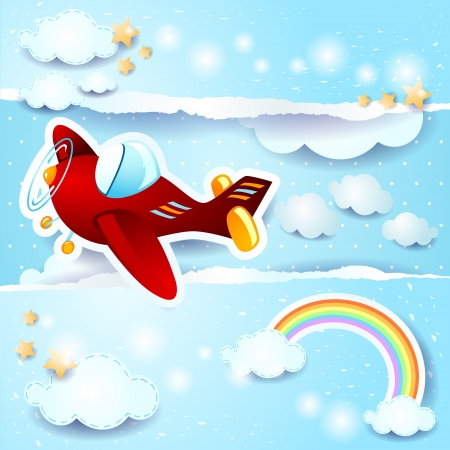 Sky background with airplane, vector Stock Vector - 19890258