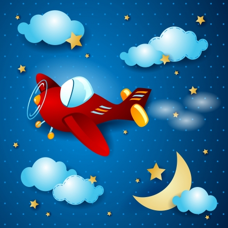 moon cartoon: Retro airplane, by night. Vector