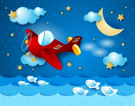 luna caricatura: Aeroplano retro, de noche. Vector Vectores