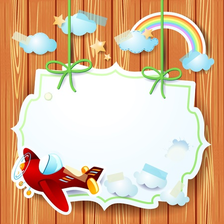 Fantasy background with label and airplane, vector