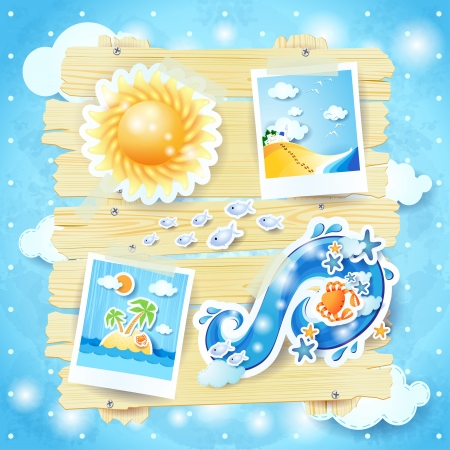Summer background with paper elements Vector