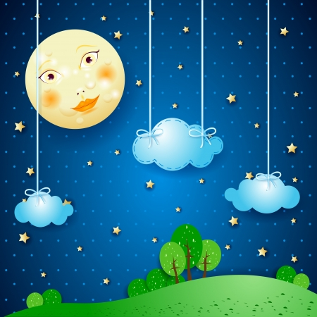 Countryside and moon Vector