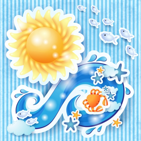 Summer background with sun and wave Vector
