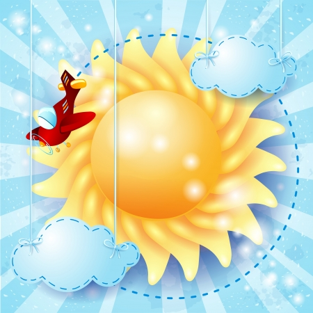 Summer background with sun and airplane Vector