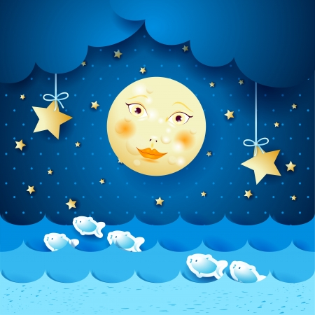 Sescape and moon Stock Vector - 20928505