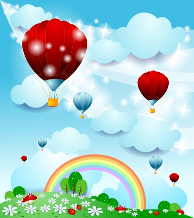 Fantasy landscape with hot air balloon Stock Vector - 20928506