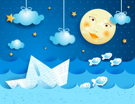 Paper boat, at night  Illustration