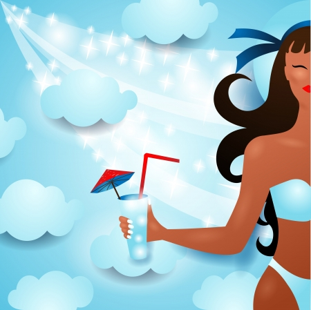 sexy bikini girl: Girl in a bathing suit on sky background