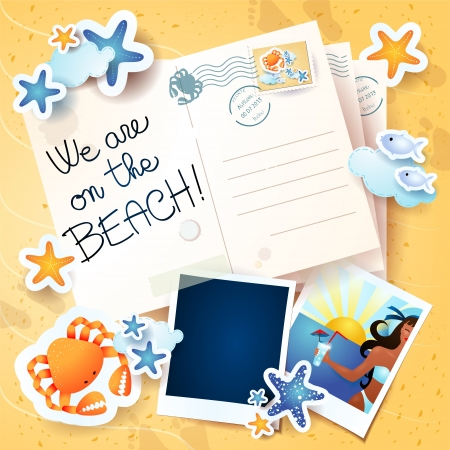 footprints in sand: Holidays background with postcards