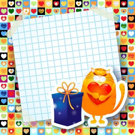 Sweet kitten and gift, custom background Stock Vector - 22544303