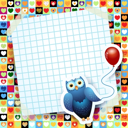 Owl and balloon, custom background  Vector