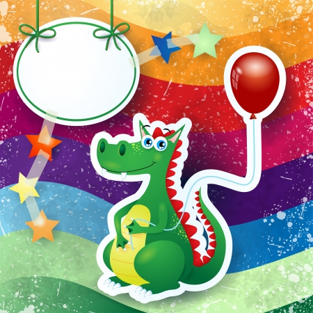 Dragon and balloon, custom background Vector