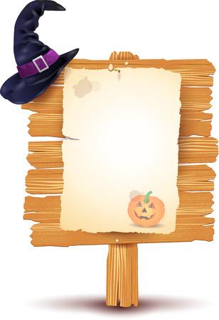 brujas caricatura: Cartel de Halloween en el fondo blanco