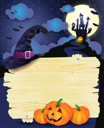 Halloween illustration with signboard