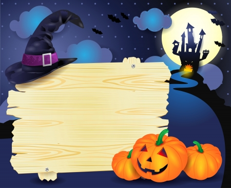 Halloween illustration with signboard