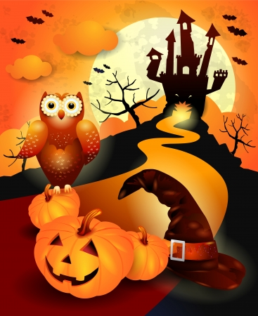 jack o lantern: Halloween with hat, pumpkin and owl