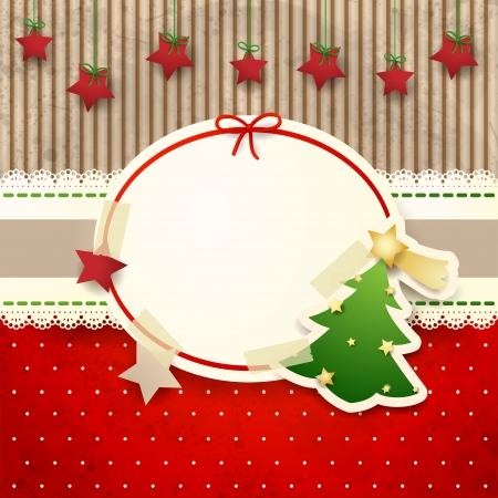 Christmas background with paper tree