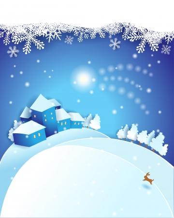 Vigilia di Natale, vettore eps 10 illustrazione con copyspace Archivio Fotografico - 23026614