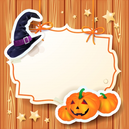 Halloween background with label, vector eps10  イラスト・ベクター素材