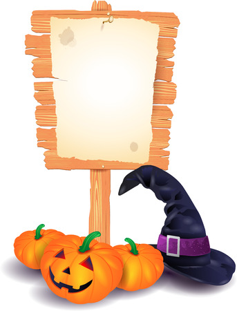 Halloween signboard on white background, vector illustration eps10 Vector