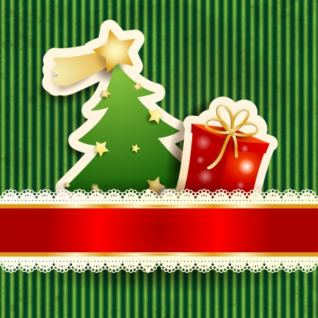 Christmas card with paper tree and gift, vector eps10