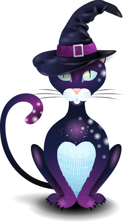 Black cat with hat Vector