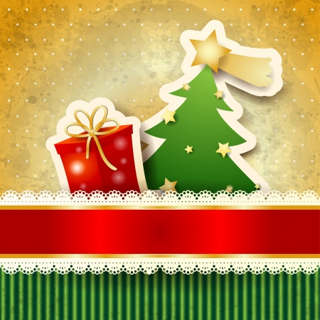 Christmas background with paper tree, vector eps10