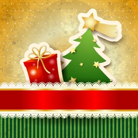 pr�sentieren: Weihnachten Hintergrund mit Papier, Vektor eps10