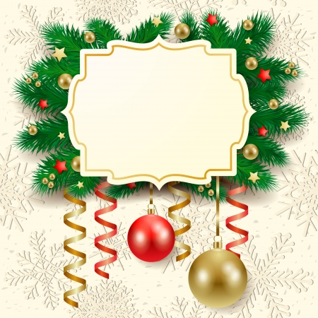 Christmas background with label, fir branches and baubles  Vector eps10 Vector