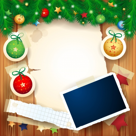 Christmas background with photo frame, vector eps10 Vettoriali