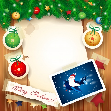 Christmas background with funny Santa on the airplane, vector eps10